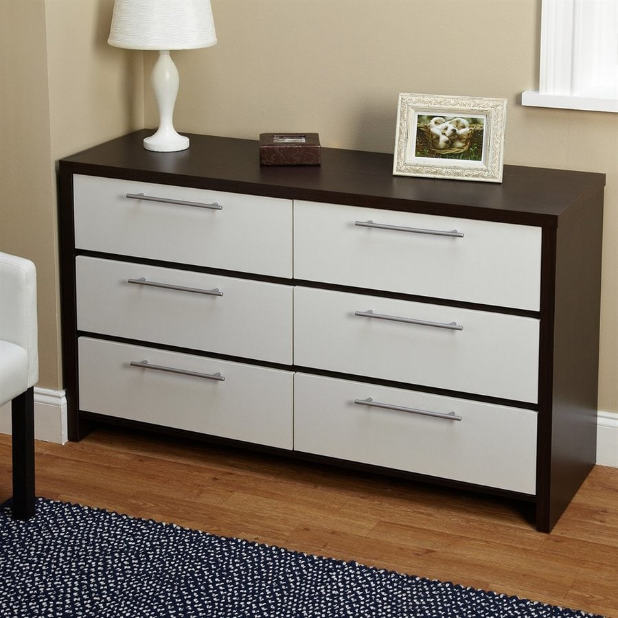 TMS Furniture White/Espresso 6 Drawer Double Dresser