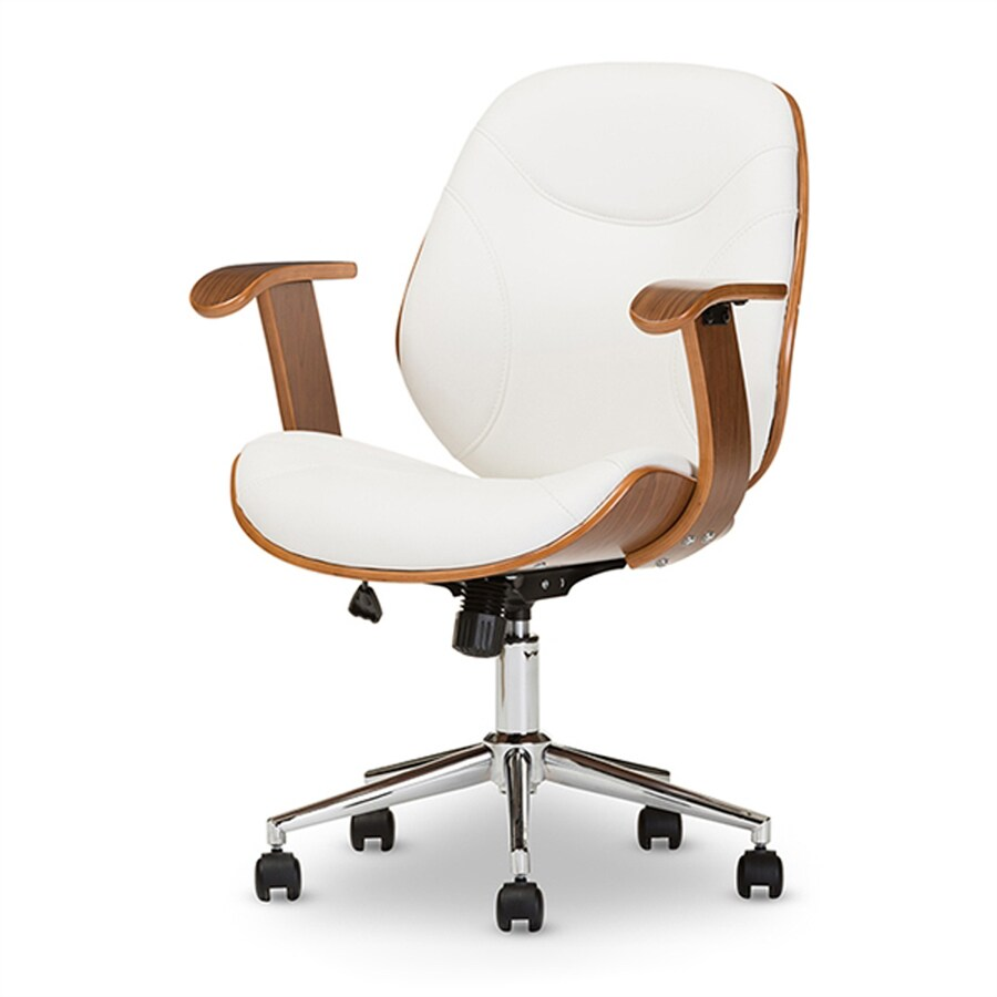 Baxton Studio Rathburn White Walnut Contemporary Task Chair At Lowes Com