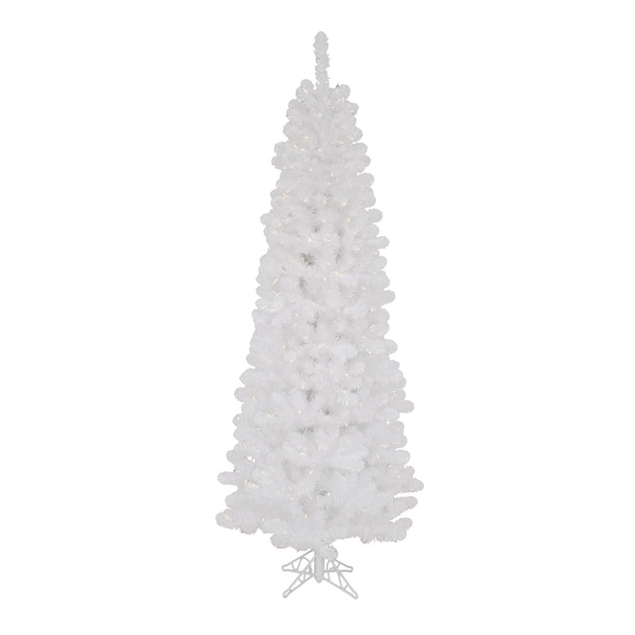 Vickerman 7.5-ft Pre-lit Salem Pine Slim Artificial Christmas Tree with 350 Clear White Incandescent Lights