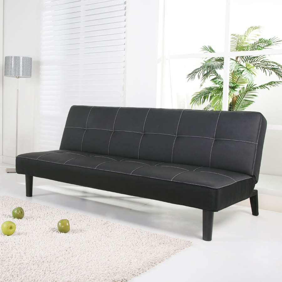 Gold Sparrow Columbus Black Faux Leather Sofa Bed