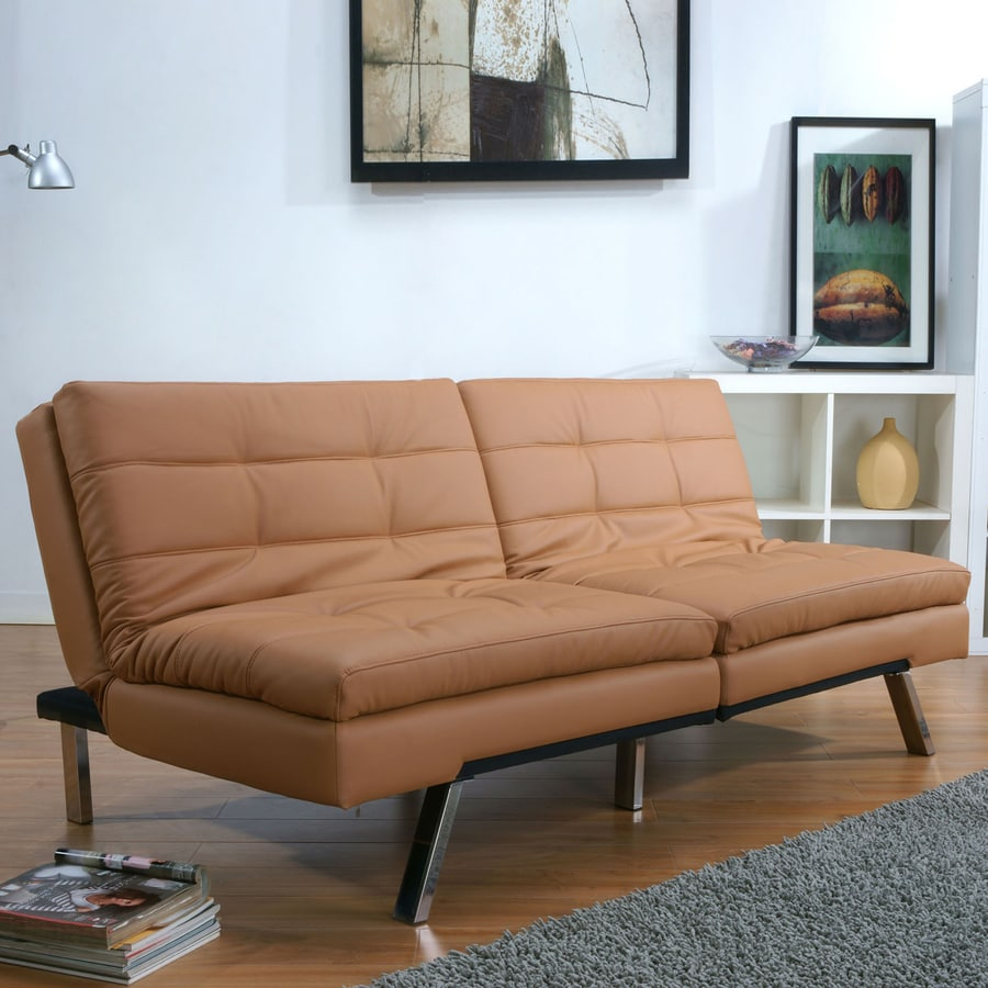 Gold Sparrow Me Mphis Camel Brown Faux Leather Sofa Bed At Lowes Com