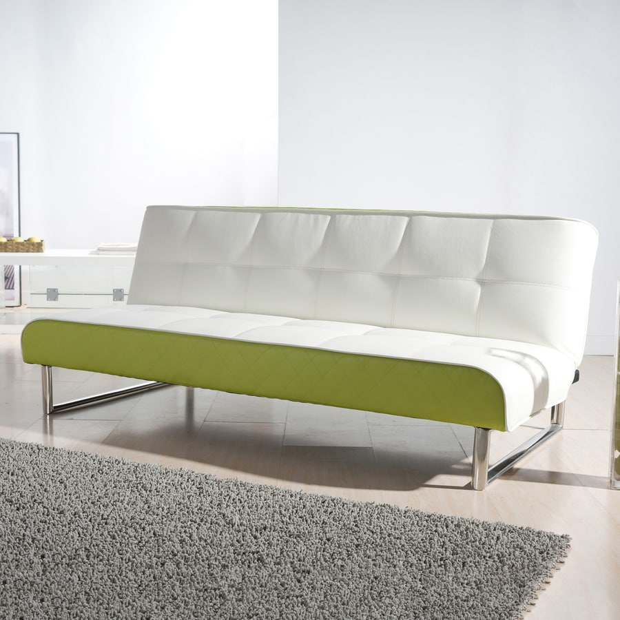 Gold Sparrow Seattle White Lime Green Faux Leather Sofa Bed