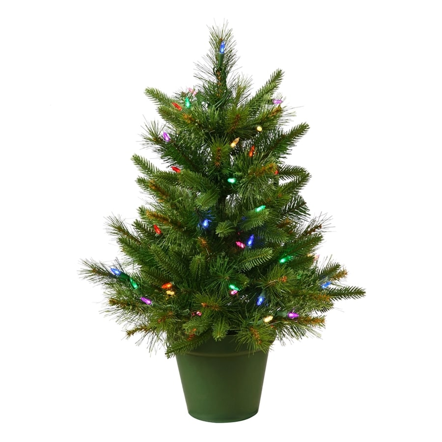 Shop Vickerman 2-ft Pre-lit Artificial Christmas Tree with 50 ...