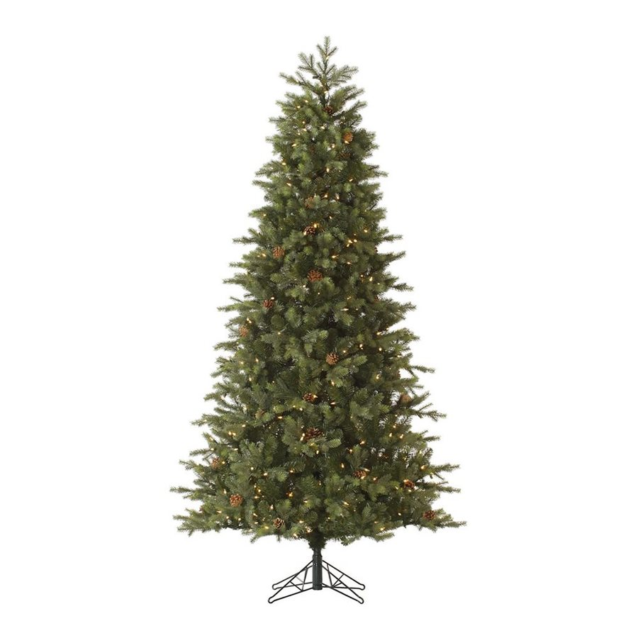 Vickerman 7.5-ft 1366-Count Pre-lit Slim Artificial Christmas Tree 550 White Clear Incandescent Lights