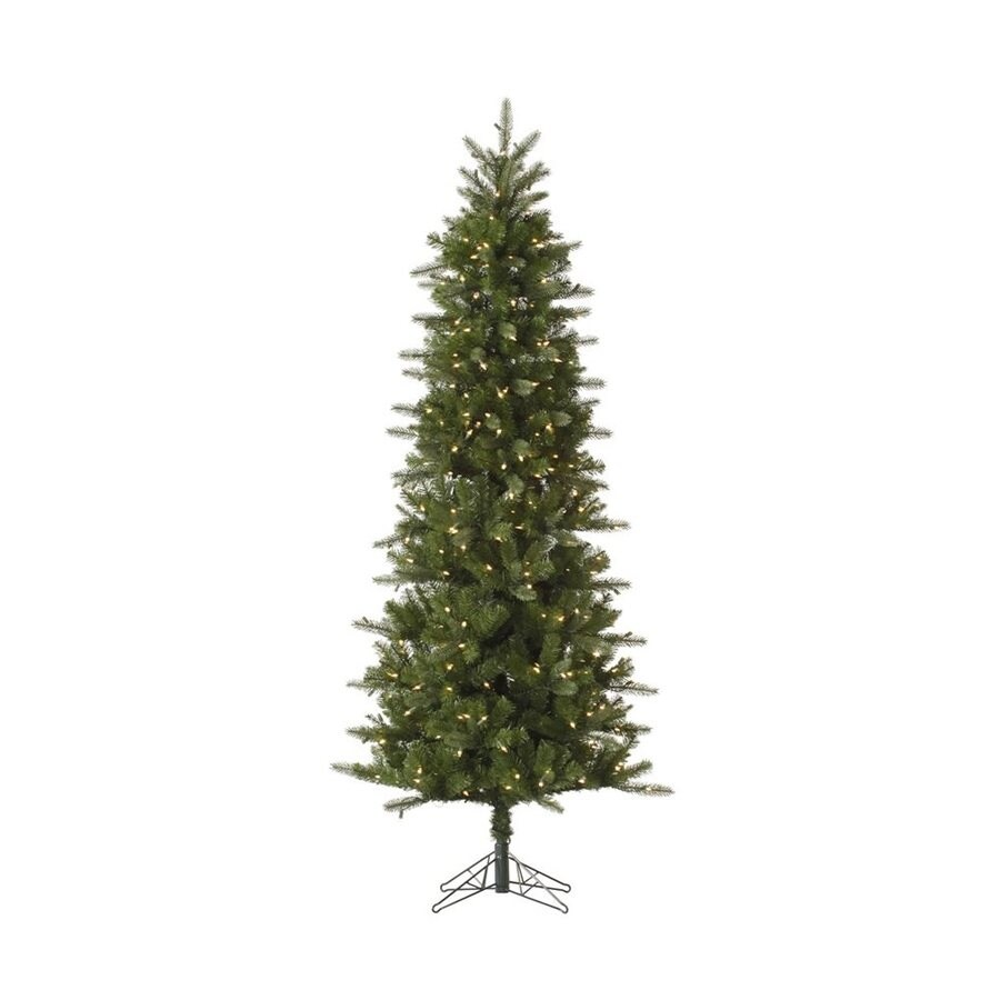 Vickerman 7.5-ft Pre-lit Slim Artificial Christmas Tree with 450 Clear White Incandescent Lights