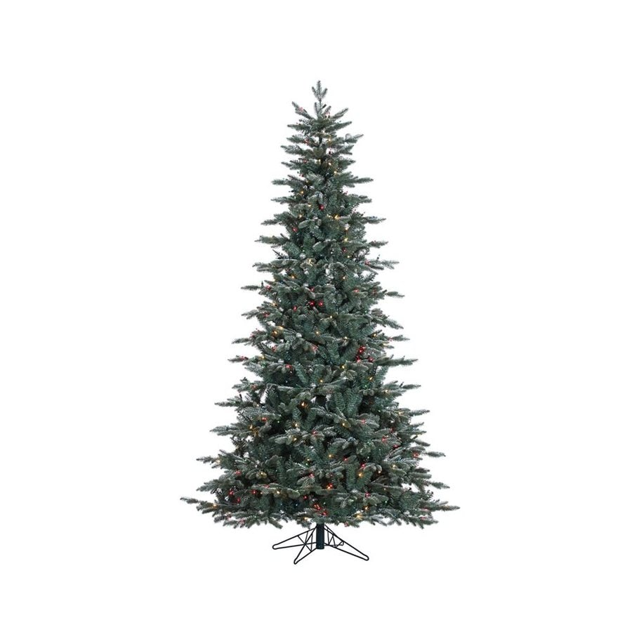 Vickerman 7.5-ft Pre-lit Balsam Fir Slim Flocked Artificial Christmas Tree with 750 Multicolor Incandescent Lights
