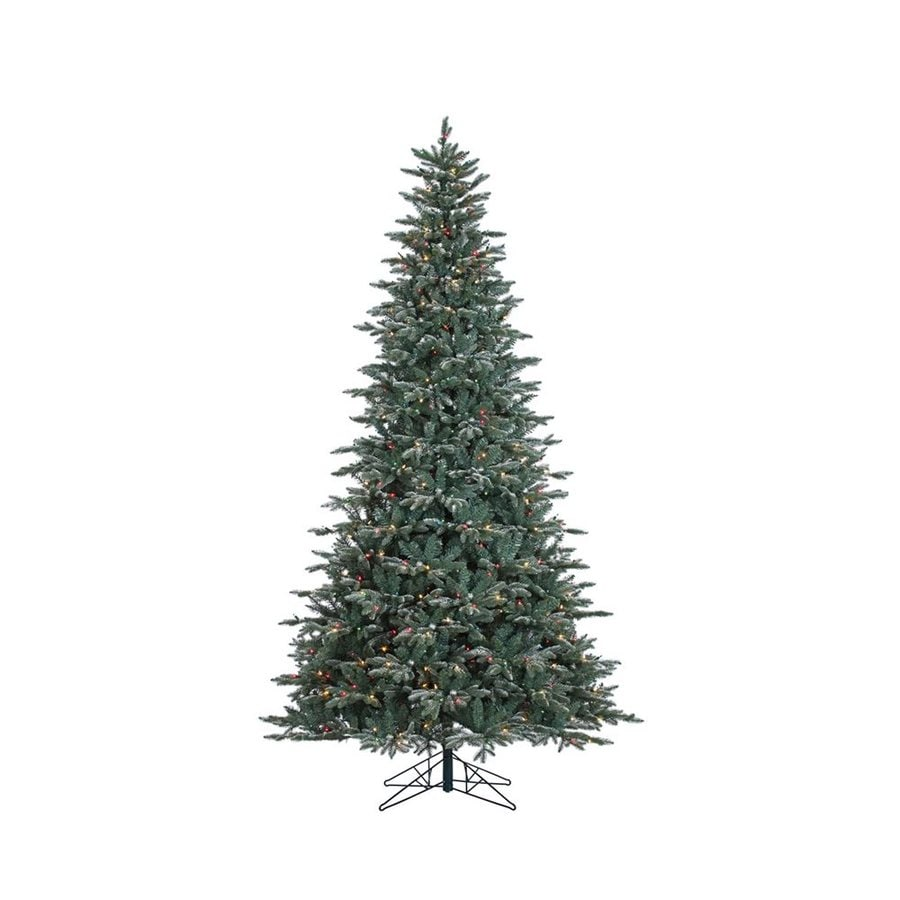 vickerman 9 ft pre lit balsam fir slim flocked artificial christmas tree with 1000