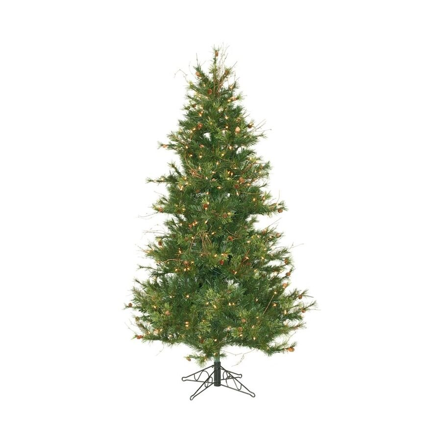 Vickerman 6.5-ft Pre-lit Mixed Needle Slim Artificial Christmas Tree with 400 Clear White Incandescent Lights