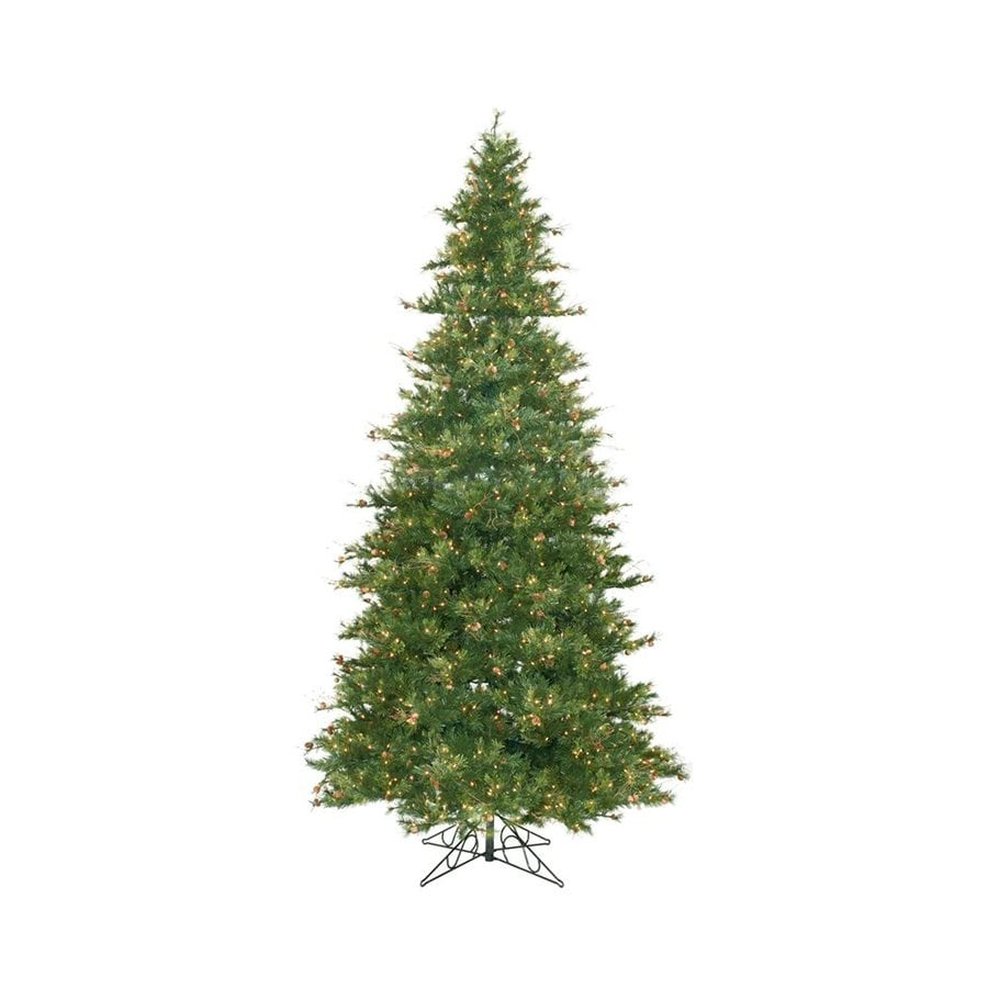 Vickerman 12-ft Pre-lit Mixed Needle Slim Artificial Christmas Tree with 1900 Clear White Incandescent Lights