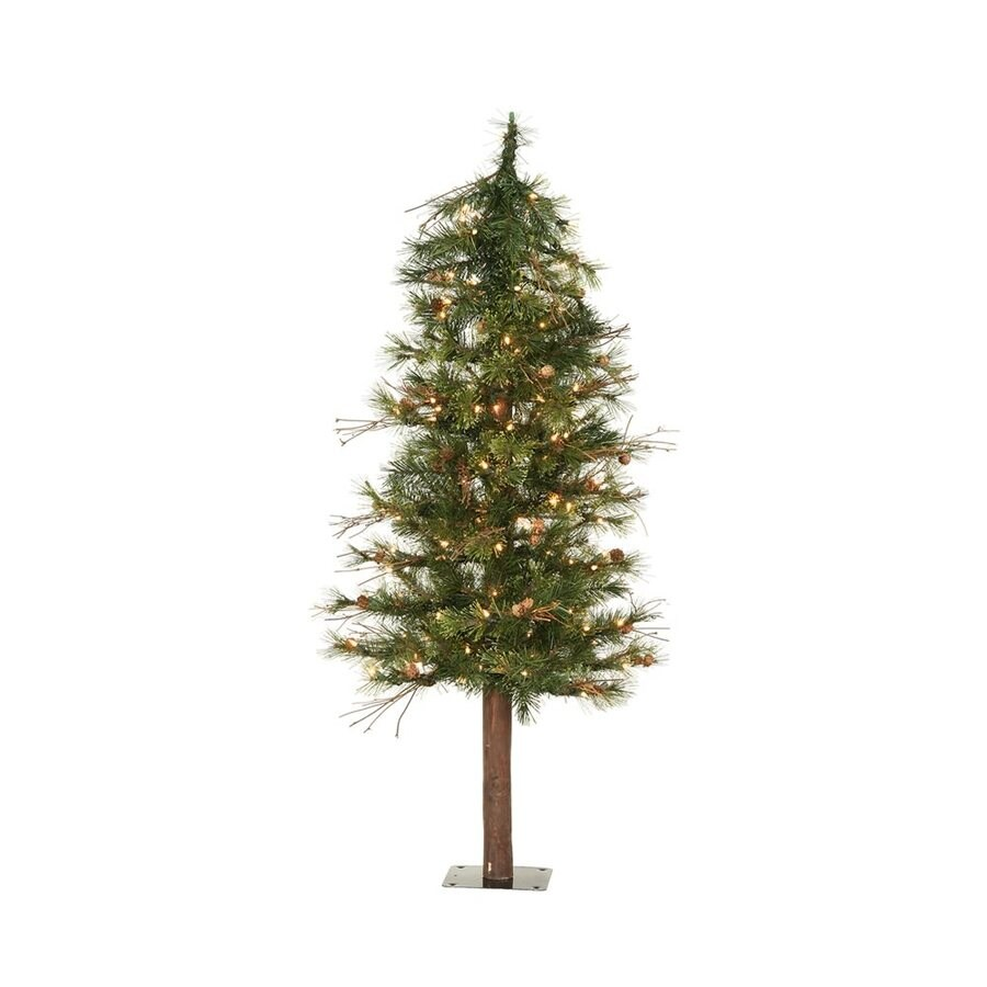 Vickerman 4-ft Pre-lit Mixed Needle Slim Artificial Christmas Tree with 100 Clear White Incandescent Lights
