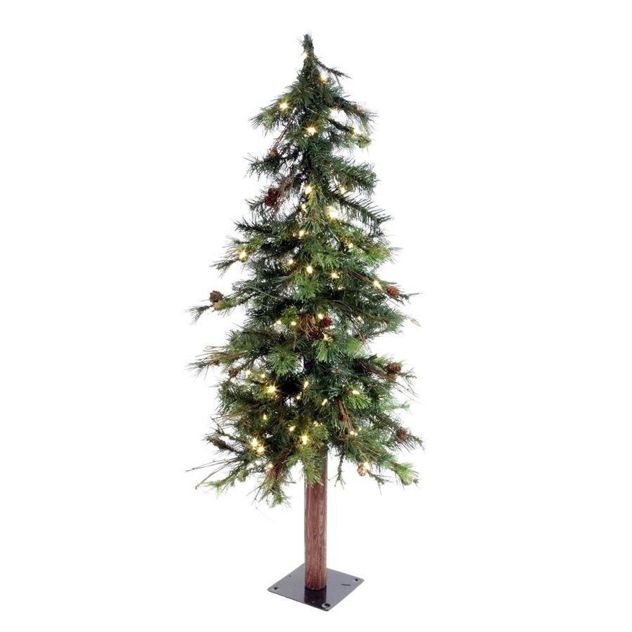 Vickerman 4-ft 217-Count Pre-lit Mixed Needle Slim Artificial Christmas Tree 100 White Warm White LED Lights