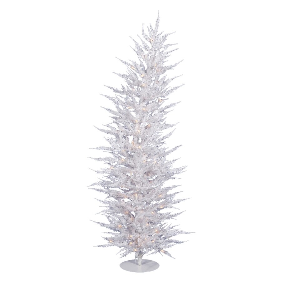 Vickerman 4-ft 608-Count Pre-lit Whimsical Slim Artificial Christmas Tree 70 White Clear Incandescent Lights