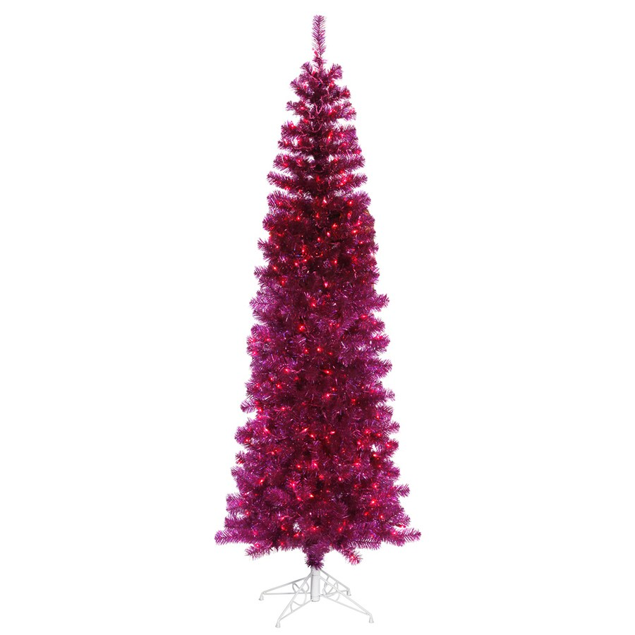 Vickerman 7.5-ft Pre-lit Pencil Pine Slim Artificial Christmas Tree with 400 Purple Incandescent Lights
