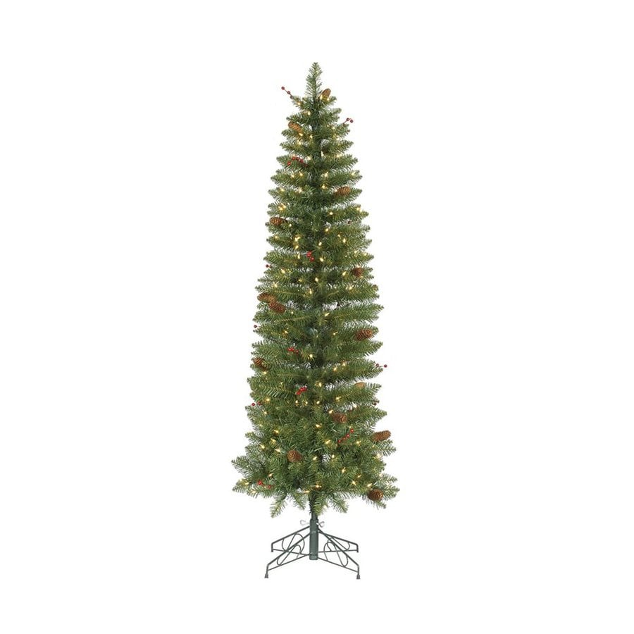 Vickerman 5.5-ft 404-Count Pre-lit Pencil Pine Slim Artificial Christmas Tree 200 White Clear Incandescent Lights