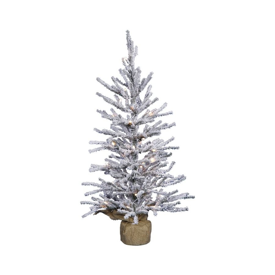 2 Ft White Christmas Tree: Vickerman 2-ft Pre-lit Slim Flocked Artificial Christmas