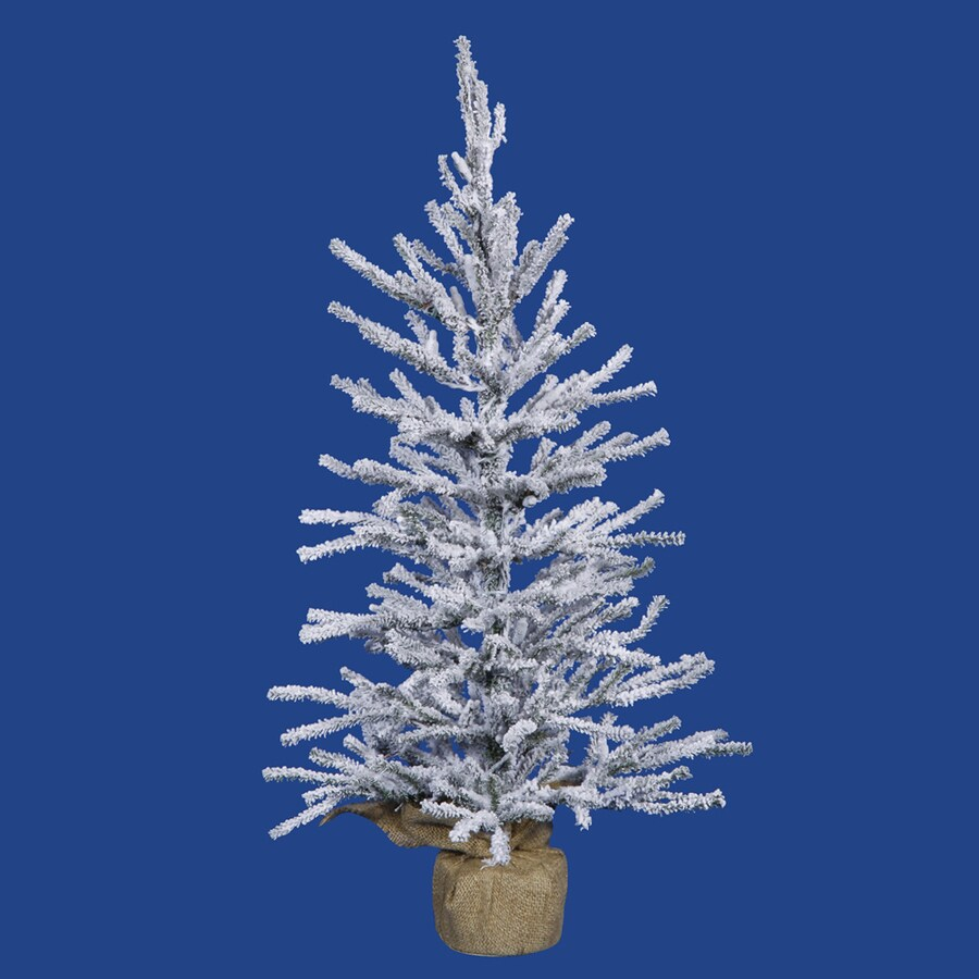 2 Ft White Christmas Tree: Vickerman 2.5-ft Pre-lit Slim Flocked Artificial Christmas