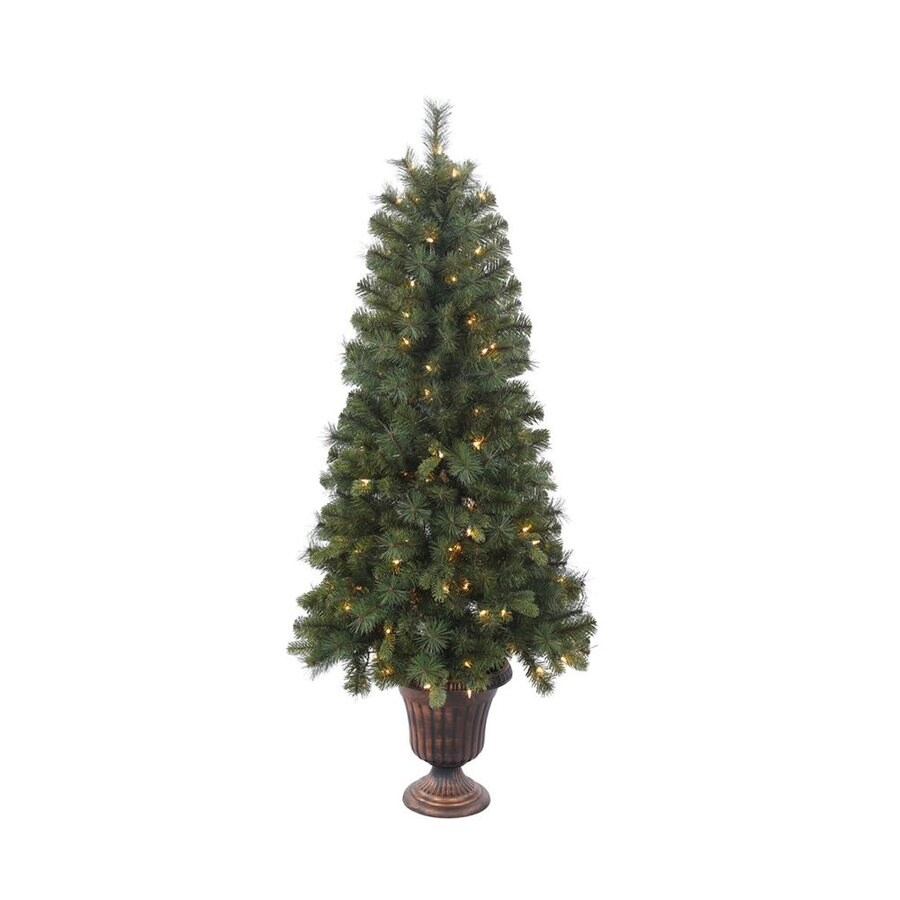 Vickerman 5-ft Pre-lit Mixed Needle Slim Artificial Christmas Tree with 150 Clear White Incandescent Lights