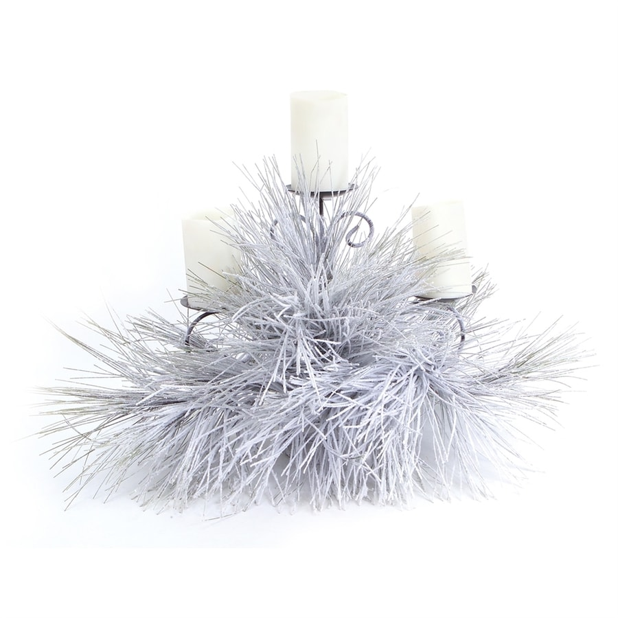 Melrose International Snow Flocked Candle Holder
