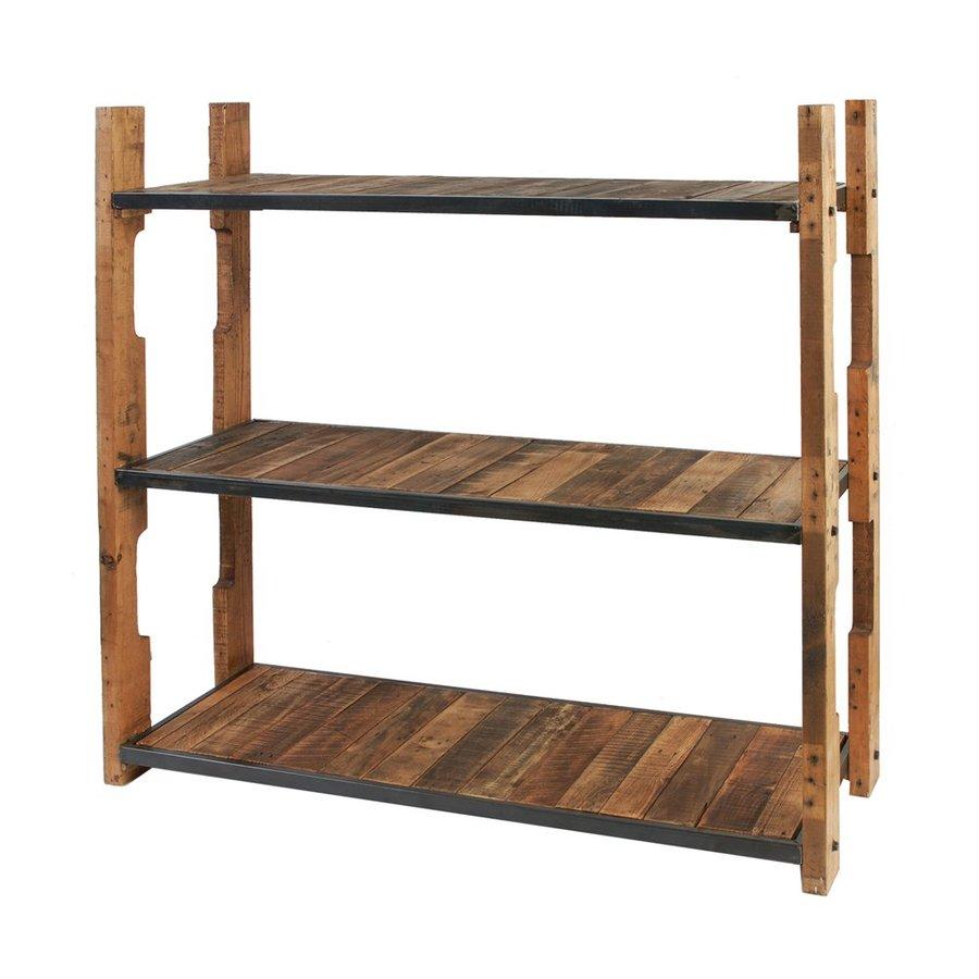 A&B Home Distressed Brown Wood 3-Shelf Bookcase