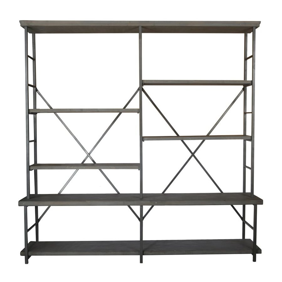 A&B Home Carnivali Design Dark Brown Metal 6-Shelf Bookcase