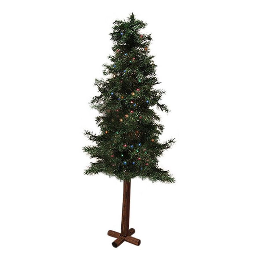 Northlight 7-ft Pre-lit Alpine Slim Artificial Christmas Tree with 300 Multicolor Incandescent Lights