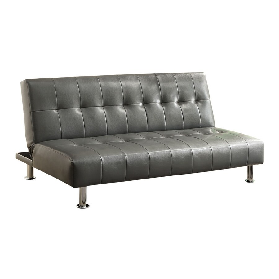 Furniture of America Bulle Gray Faux Leather Futon