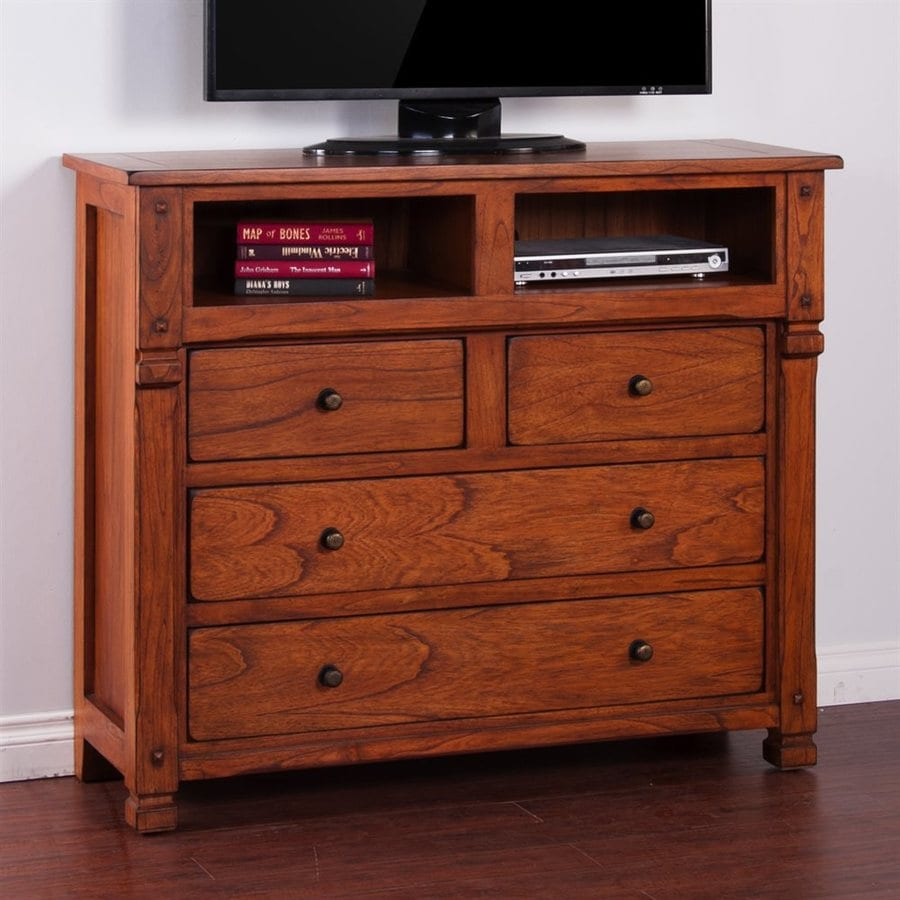 shop sunny designs sedona rustic oak 4 drawer media dresser at. Black Bedroom Furniture Sets. Home Design Ideas