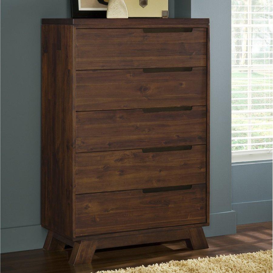Modus Furniture Portland Medium Walnut Acacia 5 Drawer Chest