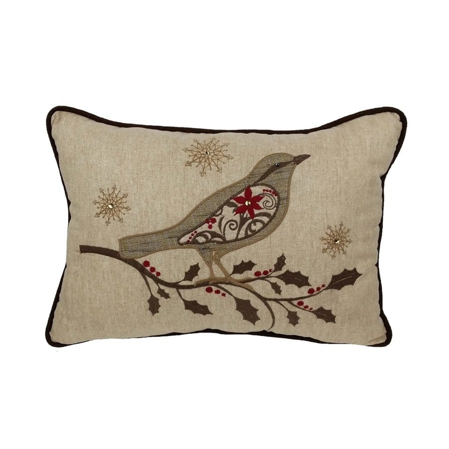 XIA Home Fashions Bird on Twig Embroidered Pillow