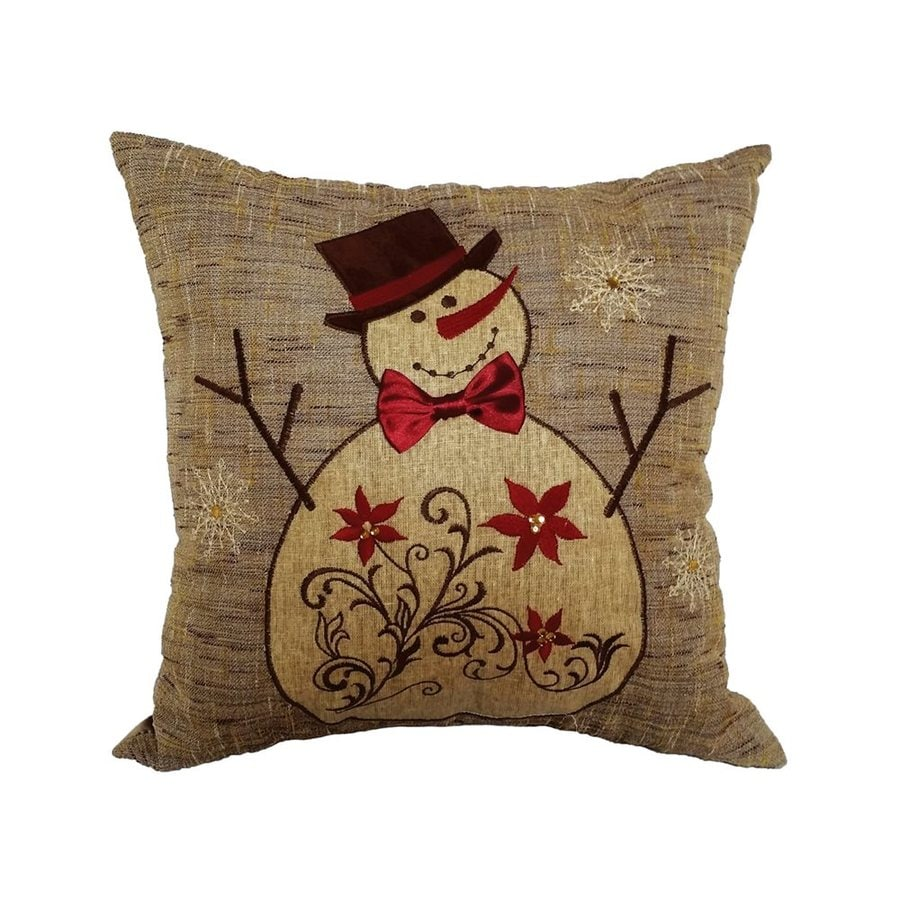 XIA Home Fashions Snowman Embroidered Pillow