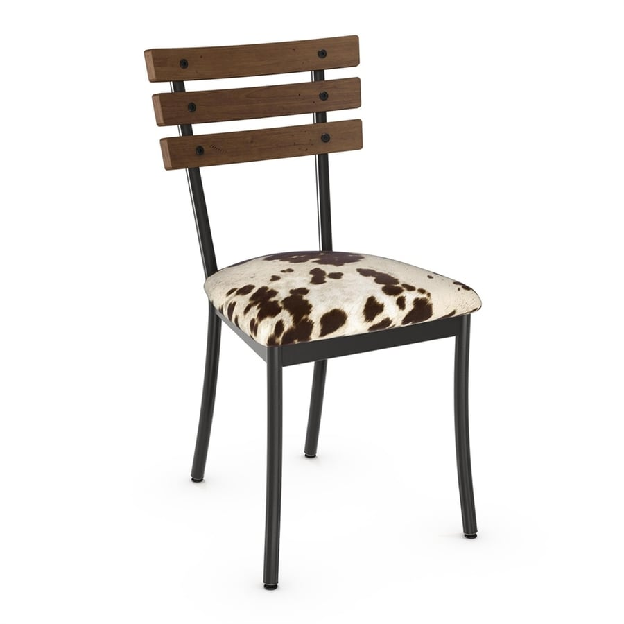Amisco Set of 2 Lodge Contemporary Brown/Beige Faux Cowhide Side Chair