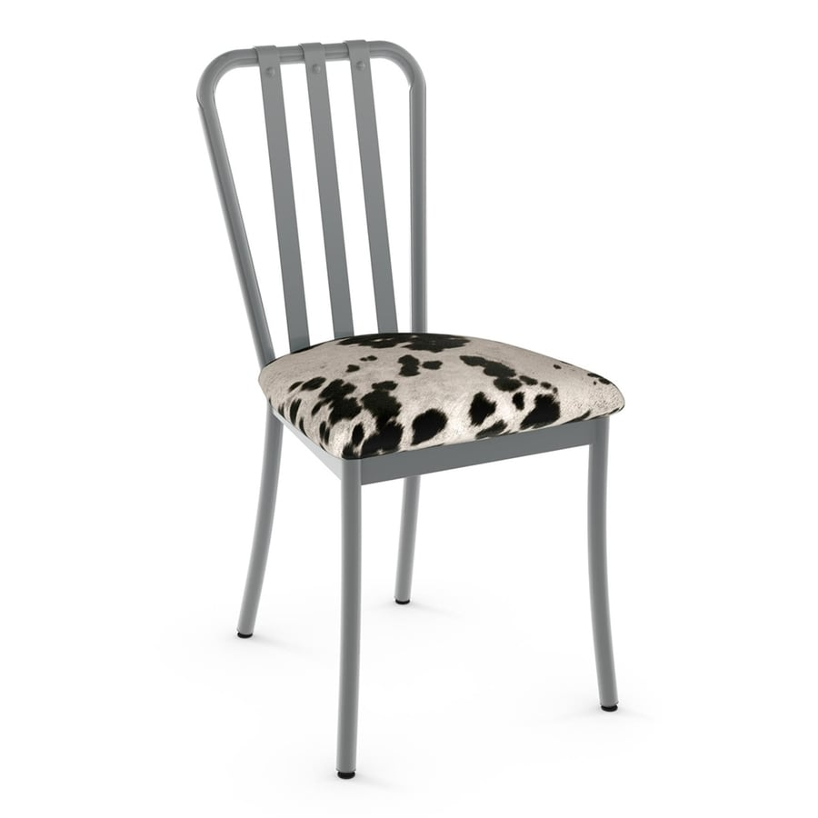 Amisco Set Of 2 Club Contemporary Black/White Faux Cowhide Side Chairs