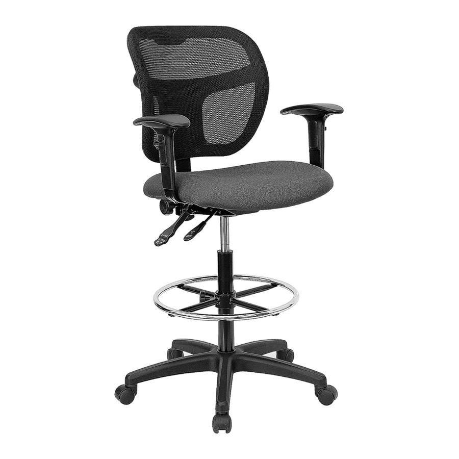 Flash Furniture Gray/Black Contemporary Drafting Chair