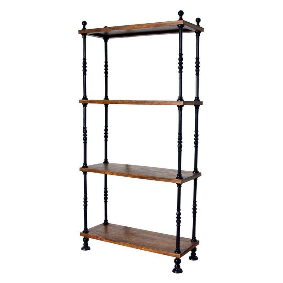 CAROLINA COTTAGE Keegan Chestnut/Black Metal 3-Shelf Bookcase