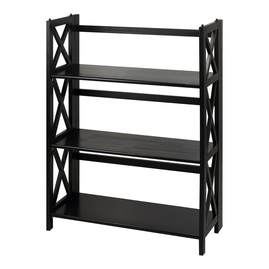 Casual Home Montego Black Wood 3-Shelf Bookcase