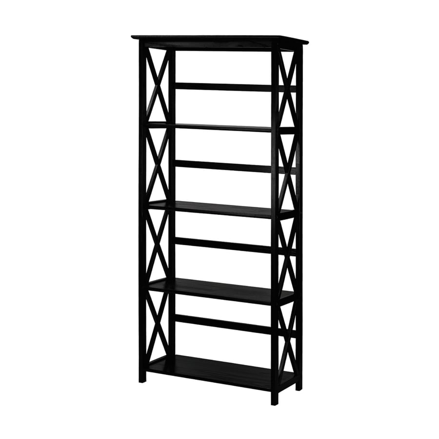 Casual Home Montego Black Wood 4-Shelf Bookcase