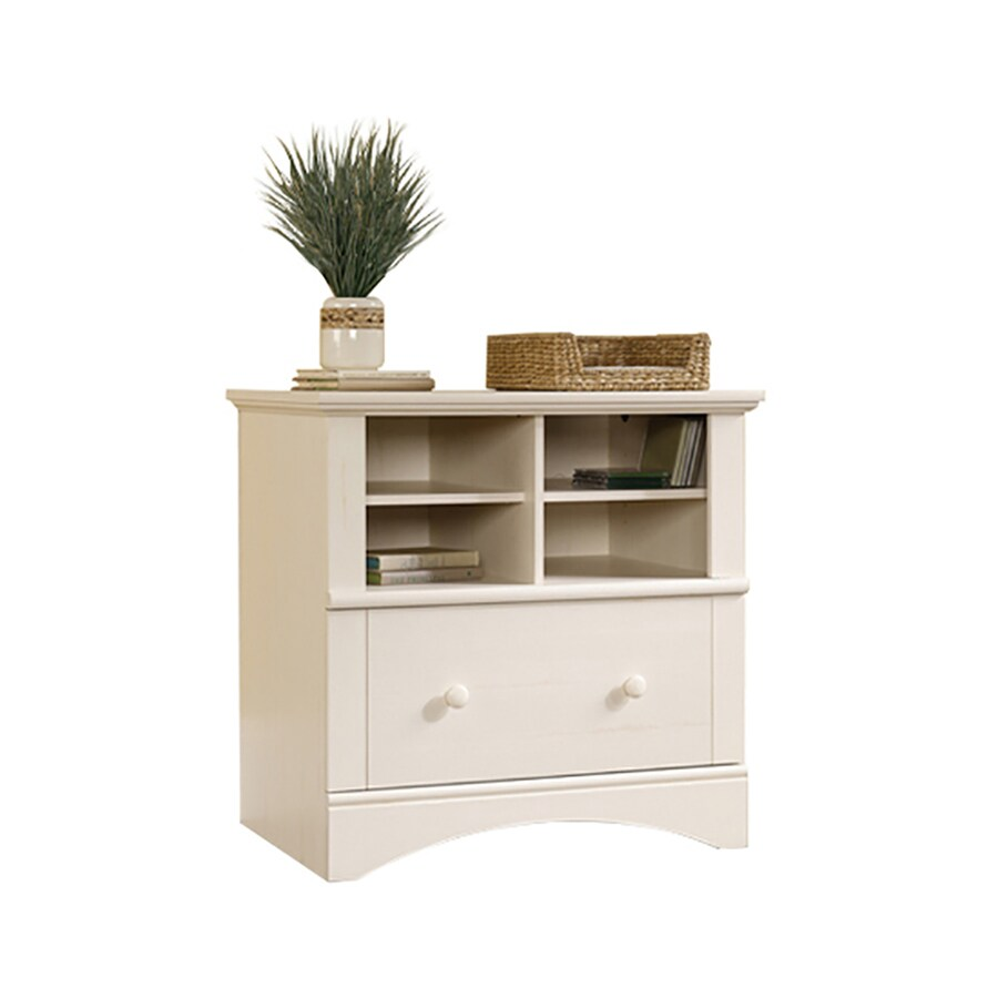 sauder storage cabinet with drawer shop sauder harbor view antiqued white 1 drawer file 25865