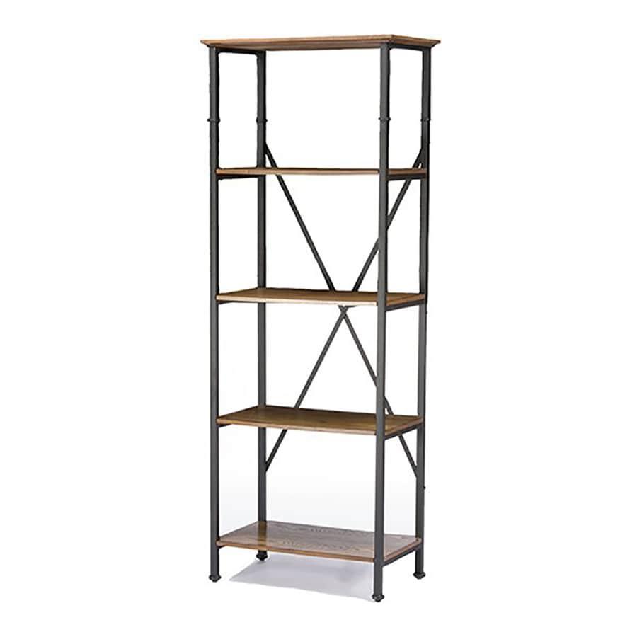 Baxton Studio Lancashire Distressed Ash/Antique Bronze Metal 4-Shelf Bookcase