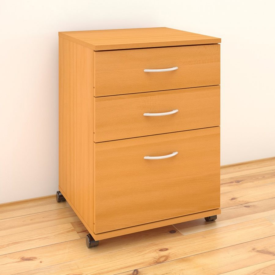 Nexera Essentials American Beech 3 Drawer File Cabinet