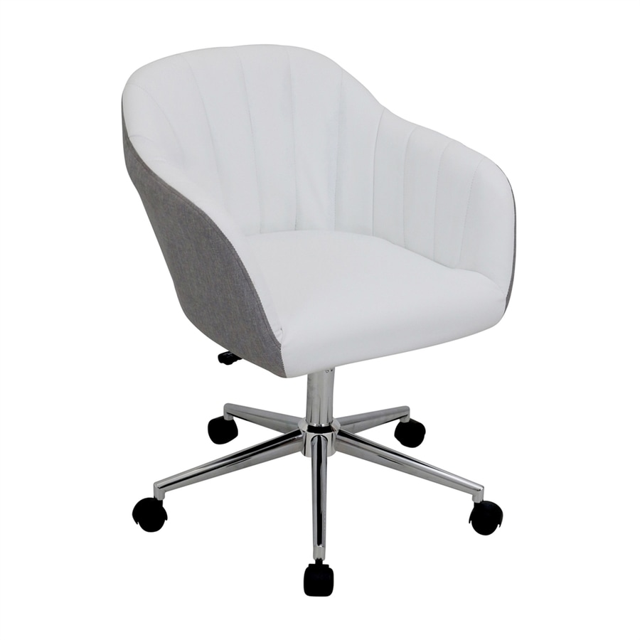 Shop lumisource shelton grey white contemporary desk chair for Modern white office chair