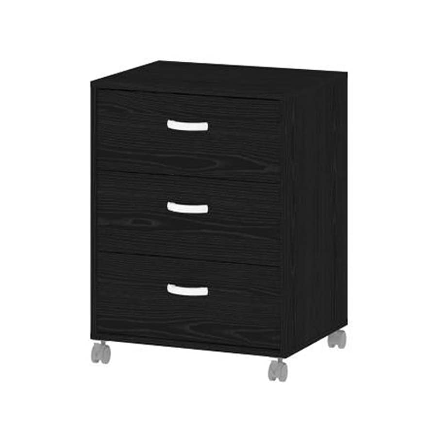 Tvilum Connect Black Wood Grain 3-Drawer File Cabinet
