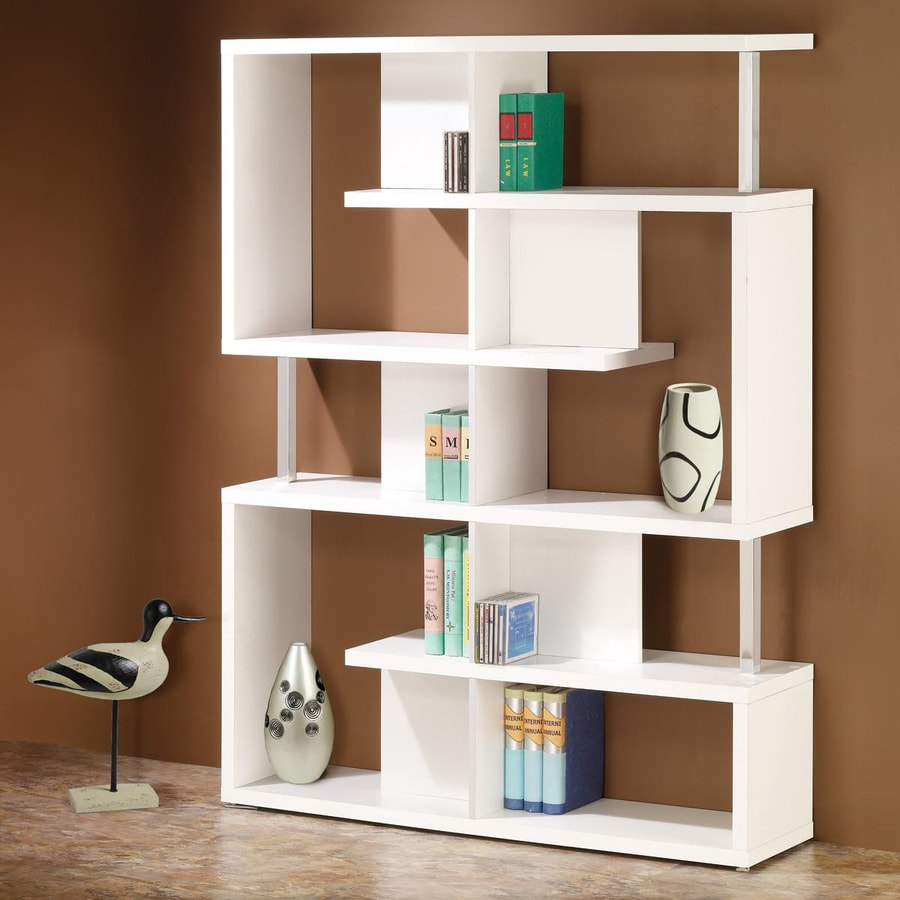 White Bookshelves: Coaster Fine Furniture White Wood 10-Shelf Bookcase At