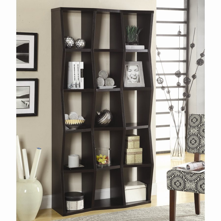 Coaster Fine Furniture Cappuccino Wood 15-Shelf Bookcase
