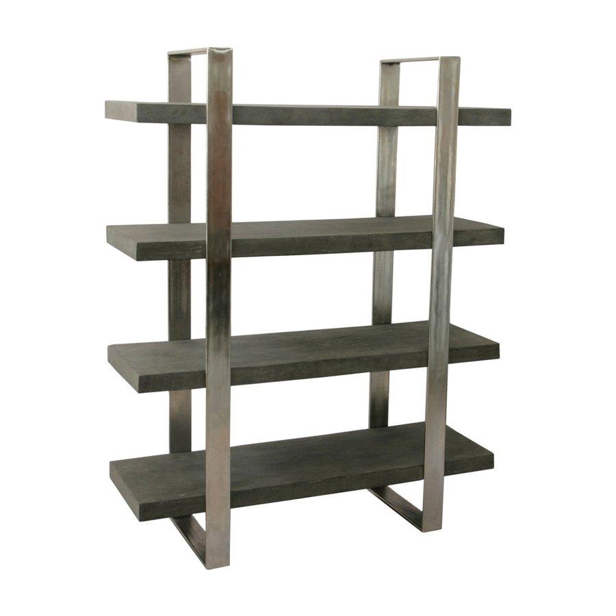 Coast to Coast Concrete Grey Metal 4-Shelf Bookcase