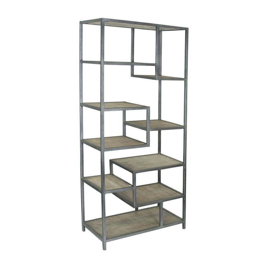 Coast To Bodhan Whitewash Mango Metal 9 Shelf Bookcase