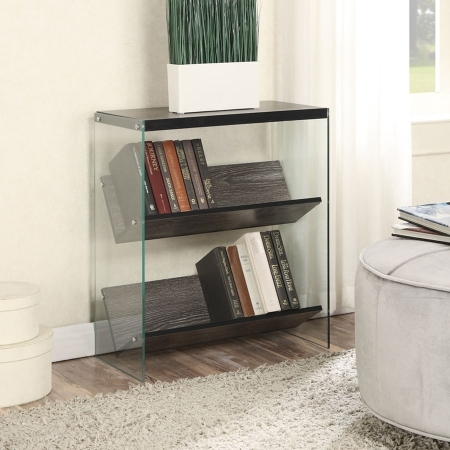 Convenience Concepts Soho Weathered Gray Glass 2-Shelf Bookcase