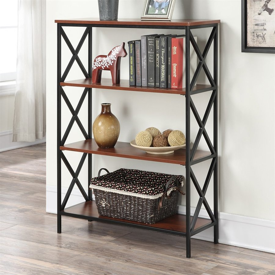 Convenience Concepts Tucson Cherry Metal 4-Shelf Bookcase