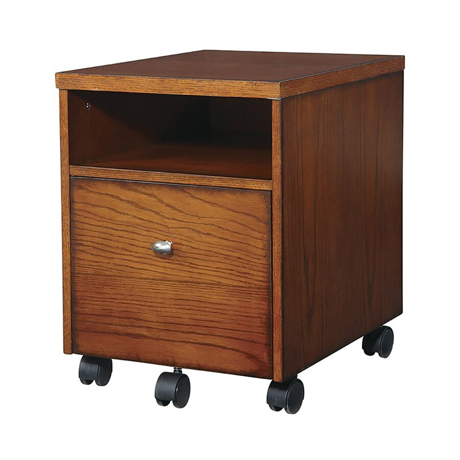 Office Star OSP Designs Aurora Brown 1 Drawer File Cabinet