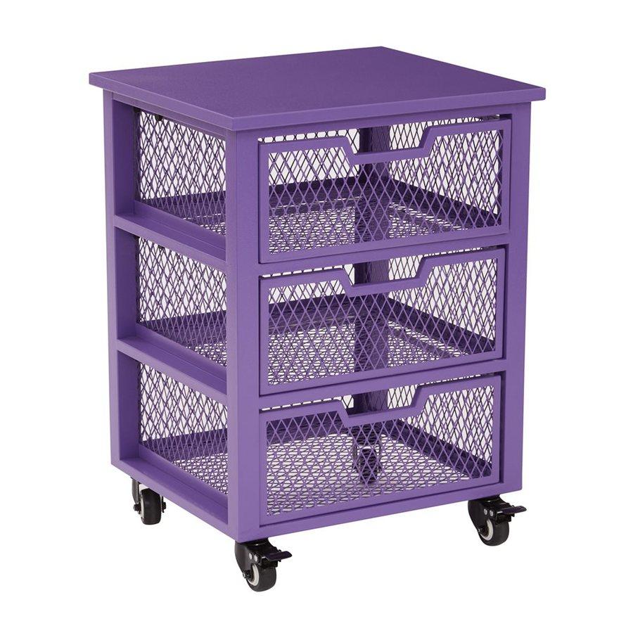 Office Star 18-in x 24.25-in 3 Purple Metal Cart