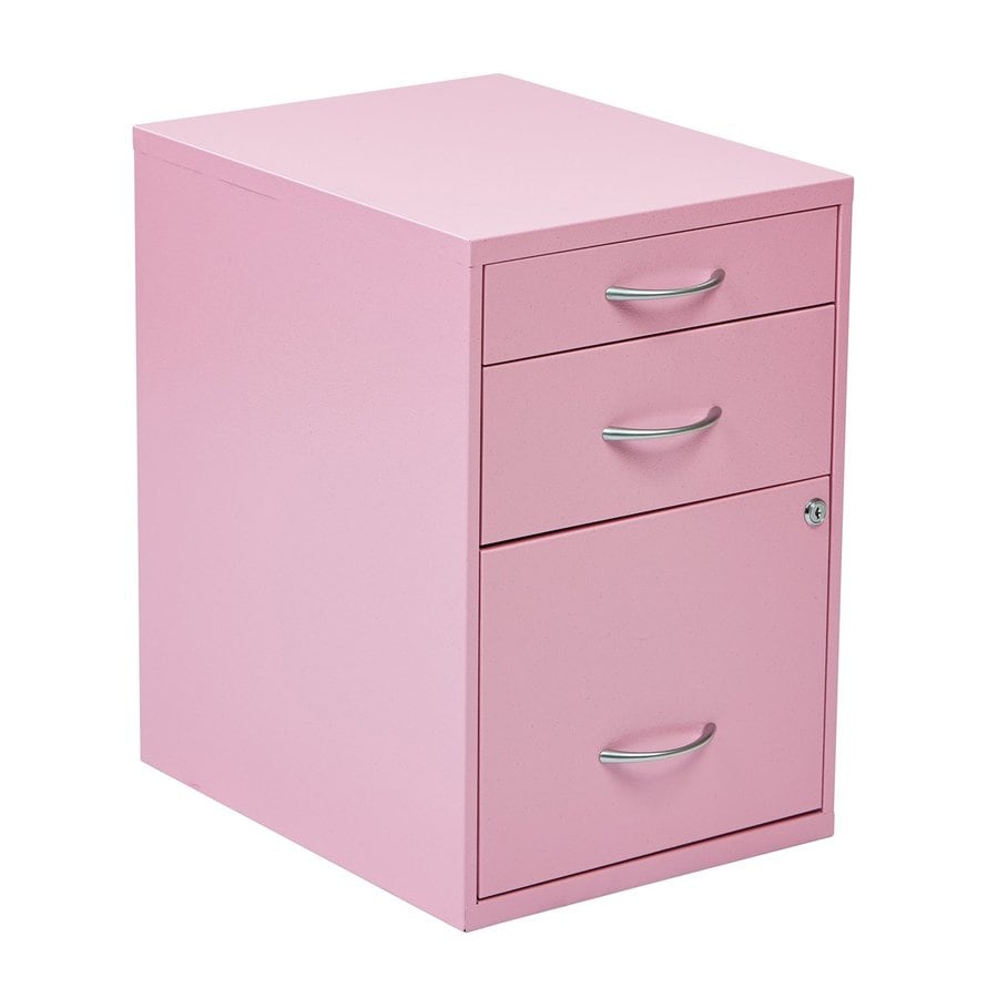 Office Star OSP Designs Pink 3 Drawer File Cabinet